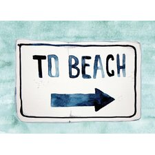 'To the Beach' Textual Art in Turquoise
