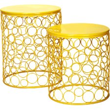2 Pieces Home Garden Accent Wire Round Stool (Set of 2)