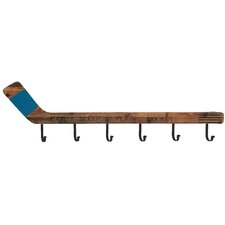 Wood and Metal Hockey Wall Mounted Coat Rack