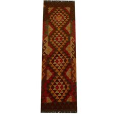 Kilim Hand-Woven Red/Gold Area Rug