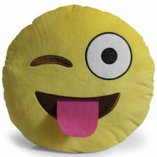 Emoji Tongue Out Eye Wink Pillow Throw Pillow