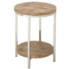 Stainless Steel Round Wooden End Table