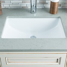 Ceramic Bowl Rectangular Undermount Bathroom Sink with Overflow