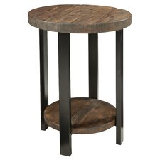 """Somers 20"""" Round Reclaimed Wood/Metal End Table"""