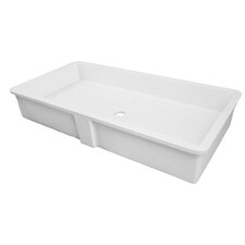 Solid Surface Lavatory Rectangular Undermount Bathroom Sink with Overflow