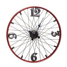 """24"""" Red Bicycle Wheel Metal Clock"""