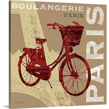 'Cycling in Paris' by Sue Schlabach Vintage Advertisement on Wrapped Canvas