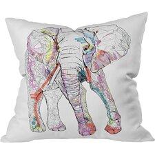 Casey Rogers Elephant Outdoor Throw Pillow