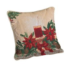 Decorative Christmas Poinsettias Candles Design Tapestry Throw Cover
