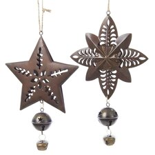 Star and Starburst with Bell Ornament (Set of 2)