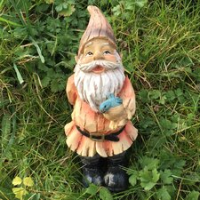 Woodland Gnome Holding Bird Outdoor Decorative Garden Statue