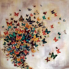 Butterflies on Pale Ochre Canvas Wall Art