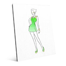 Glass Coat Dress Fashion Painting Print on Plaque in Green