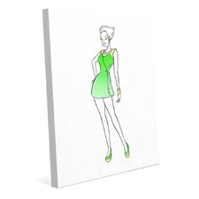 Coat Dress Fashion Painting Print on Wrapped Canvas in Green