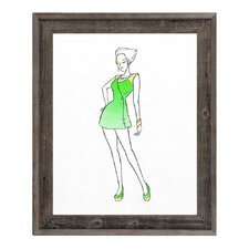 Coat Dress Fashion Framed Painting Print on Wrapped Canvas in Green