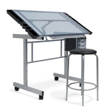 Vision 2-Piece Craft Station and Glass Drafting Table with Stool