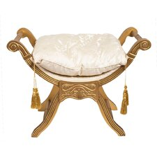 Upholstered Decorative Stool with Tassels