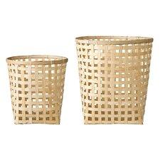2 Piece Round Bamboo Woven Basket Set