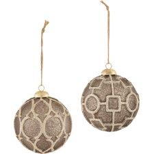 Trousseau 2 Pieces Gothic Filegree Glass Ball Ornament Set
