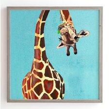 'Giraffe With Green Leaf' by Coco De Paris Framed Art