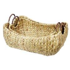 2 Piece Water Hyacinth Basket Set