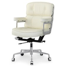 "16"" Leather Office Chair with Lumbar Support"