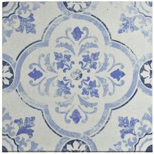 "Shale 12.75"" X 12.75"" Ceramic Patterned/Field Tile in White/Blue"
