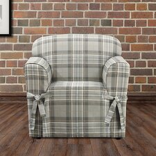 Highland Plaid Polyester Armchair Slipcover  by Sure Fit