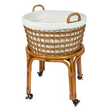 Rolling Wicker Laundry Basket