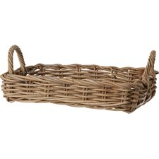Vinita Rattan Tray Basket in Grey