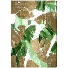 Tropical Leaves Gold Graphic Art on Wrapped Canvas