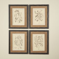 botanic framed 4 piece set on fabric set of 4