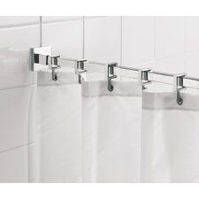 250cm Straight Fixed Shower Curtain Rail & Ring Set