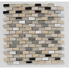 30cm x 30cm Stone/Glass/Metal/Pearl Mosaic Tile in Beige
