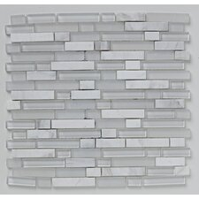 Linear 30.5cm x 30.5cm Glass Mosaic Tile in White