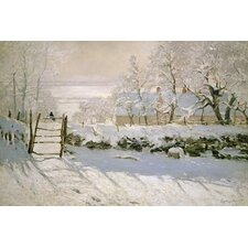 'The Magpie, 1869' by Claude Monet Painting Print on Wrapped Canvas