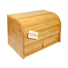 Bamboo Double Decker 2 Layer Roll Top Wooden Bread Bin