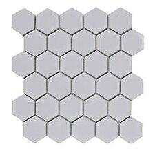 Heagon 30cm x 30cm Porcelain Mosaic Tile in White
