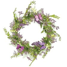 """24"""" Mixed Berry and Butterfly Artificial Floral Wreath"""