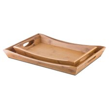 quick view 2 piece bamboo serving tray set - Decorative Serving Trays