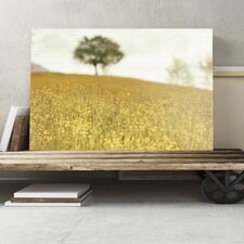 Landscape Yellow Meadow and Tree Photographic Print on Canvas