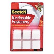"Reclosable Hook & Loop Fastener Squares, 7/8"" Wide, White, 24 Sets/Pack (Set of 2)"
