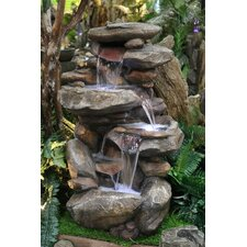Fiberglass Rock Fountain with Light