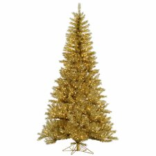 6.5' Gold/Silver Tinsel Artificial Christmas Tree with 450 LED Clear Dura-Lit Lights