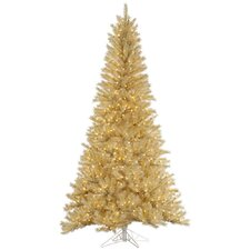 5.5' White/Gold Tinsel Artificial Christmas Tree with 350 LED Clear Dura-Lit Lights
