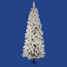 9.5' Flocked Pacific Christmas Tree with 400 LED Warm White Lights with Stand