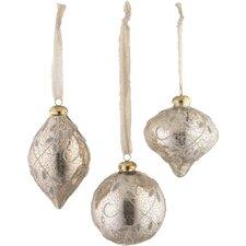 3 Piece Glass Ornament Set (Set of 2)