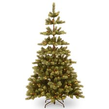 Woodland Carolina 7.5' Green Pine Artificial Christmas Tree with 400 Clear Lights