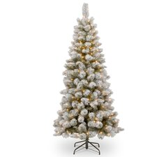 7.5' White/Green Pine Artificial Christmas Tree with 350 Clear Lights