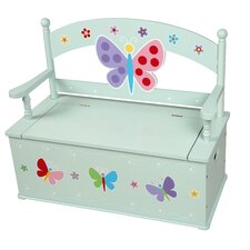 Olive Butterfly Garden Kids Bench with Storage